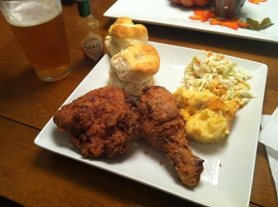 Apple brined fried chicken